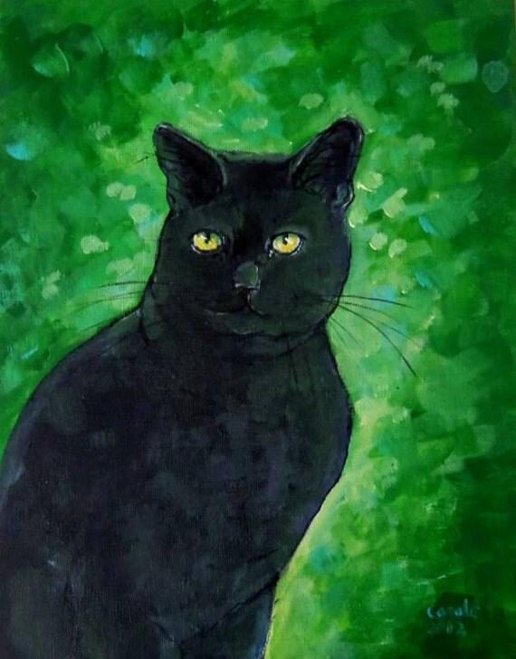 Black Cat Impression black cat painting OOAK 11 X 14 Original Acrylic Painting by Carole Gregorio Chapla