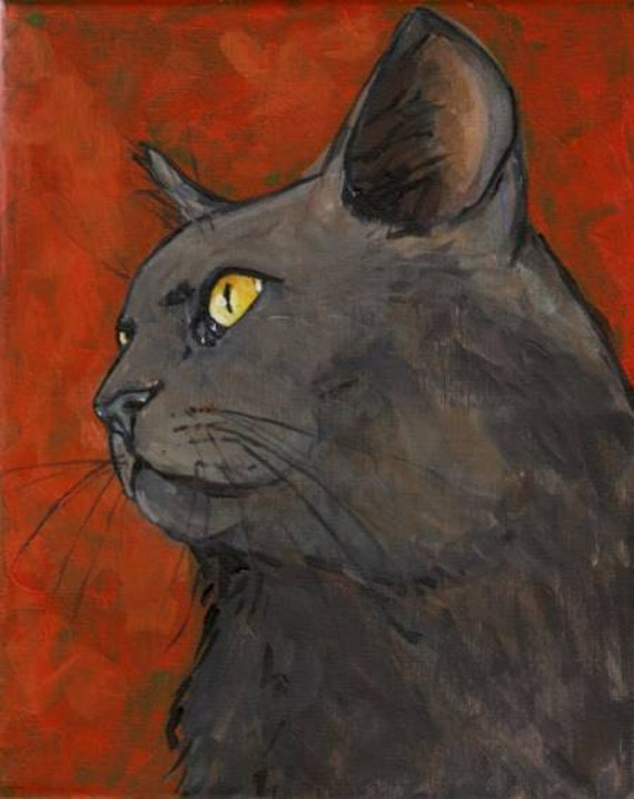 Black Cat on Overlaid color, Looking up cat art, cat  painting 8 X 10 Stretched Canvas by Carole Gregorio Chapla, Tampa artist