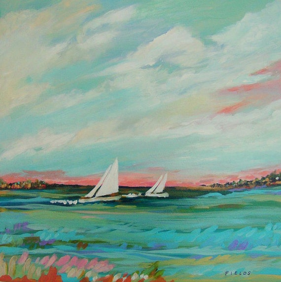 Landscape Beach Sailboat Original Painting 20 x 20 by Karen Fields