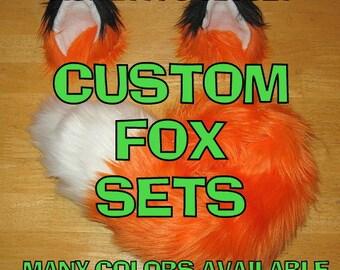 Fox Halloween Costume - Fox Ears and Fox Tail-Anime, Fantasy, Cosplay. Burning Man, Anthrocon