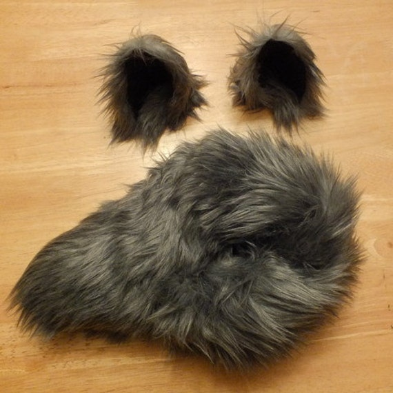 Wolf Halloween Costume - Wolf Ears and Wolf Tail-Custom Choose your color-Anime, Fantasy, Cosplay. Burning Man