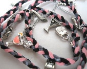 CLEARANCE-Girls Night Out Braided Charm Bracelet