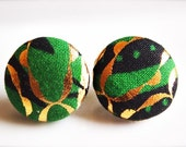 Monarch. Green fabric button earrings (medium)