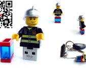 4GB USB Flash Drive in a original Lego Minifigure Firefighter handmade