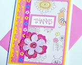 Thanks bright pink Birds Flowers handmade greeting card