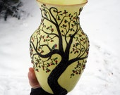 2 Sculpted Robins and Nest in an Apple Tree on a Butter Yellow Recycled Glass Art Vase