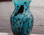 Sculpted Ruffled Raven Recycled Glass Art Vase in Turquoise