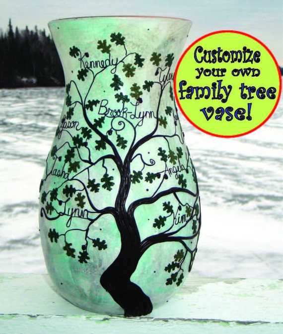 A Great Wedding or Anniversary Gift Family Tree Vase Made from Recycled Glass Customized