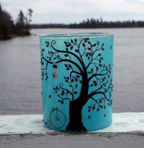 Get on Your Bike and Go Climb A Tree Turquoise Recycled Art Glass Candle Holder