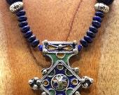 Vintage Enamelled Berber Cross - Nepalese Melon Beads