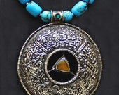 Tibetan Amber Triangle and Multi-Turquoise