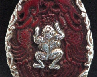 Tibetan Carved Ebony with Frog and Fish Amulet