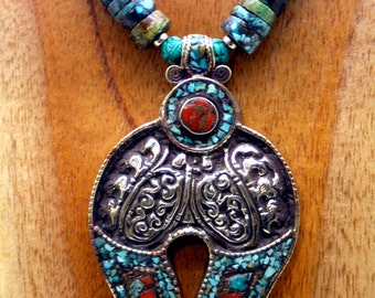 Vintage Tibetan Sterling and Turquoise - Collector's Item
