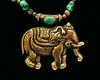Nepalese Brass Repoussee' Elephant & Turquoise Nuggets