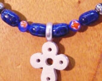 Santorini Flower Cross and Lapis Lazuli