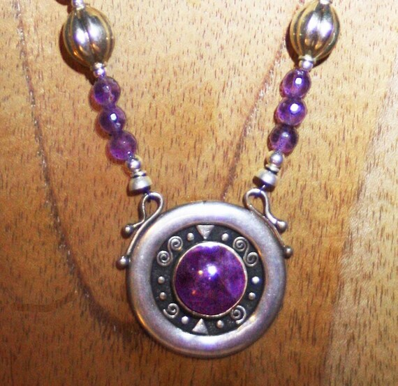 Faceted Amethyst and Thai Sterling Silver Necklace