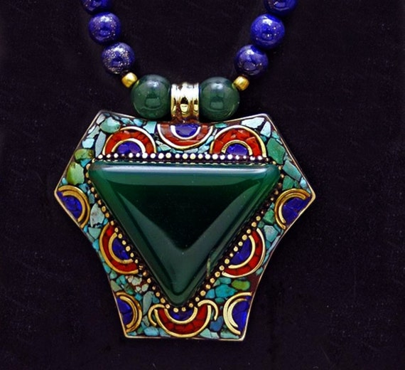 RESERVED FOR YOUNGDINO - Nepalese Green Agate Triangle with Lapis.Lazuli