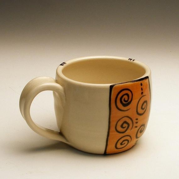 Cup-Orange and Black Swirl Porcelain