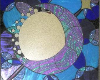 "18"" X 18"" Handmade Mosaic Mirror Glitter Moon"