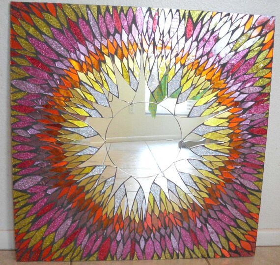 Mosaic Mirror Pink and Orange Stained Glass