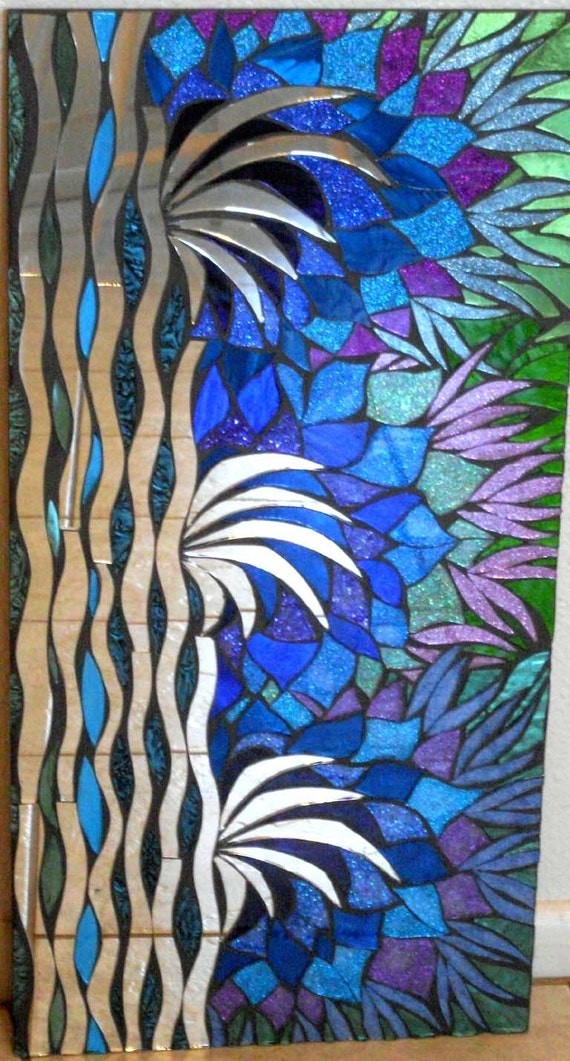 Blue Hawaiian Stained Glass Mosaic Mirror