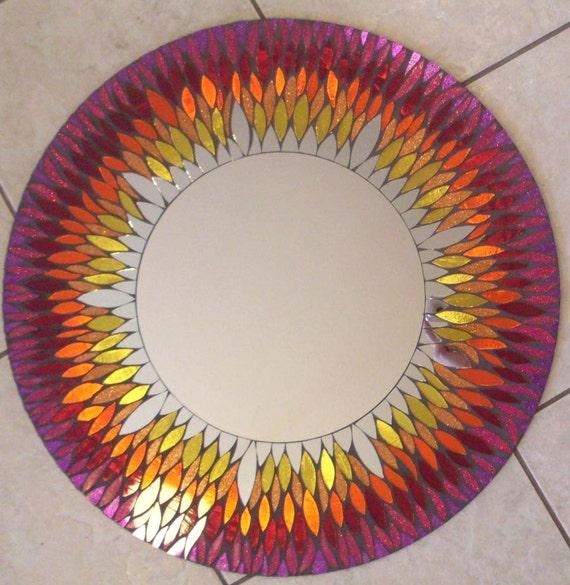PRICE Reduction ...Red and Yellow Mosaic Mirror SUNFlower Large Round Handmade Glitter