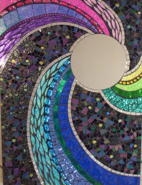 Large Colorful Retro Rectangular Glass Mosaic Mirror Black