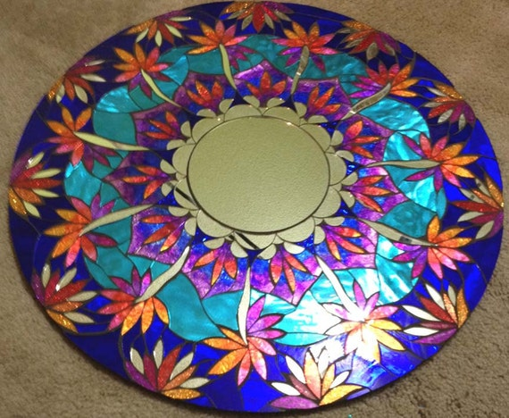 Stained Glass Round Mosaic Mirror Glitter