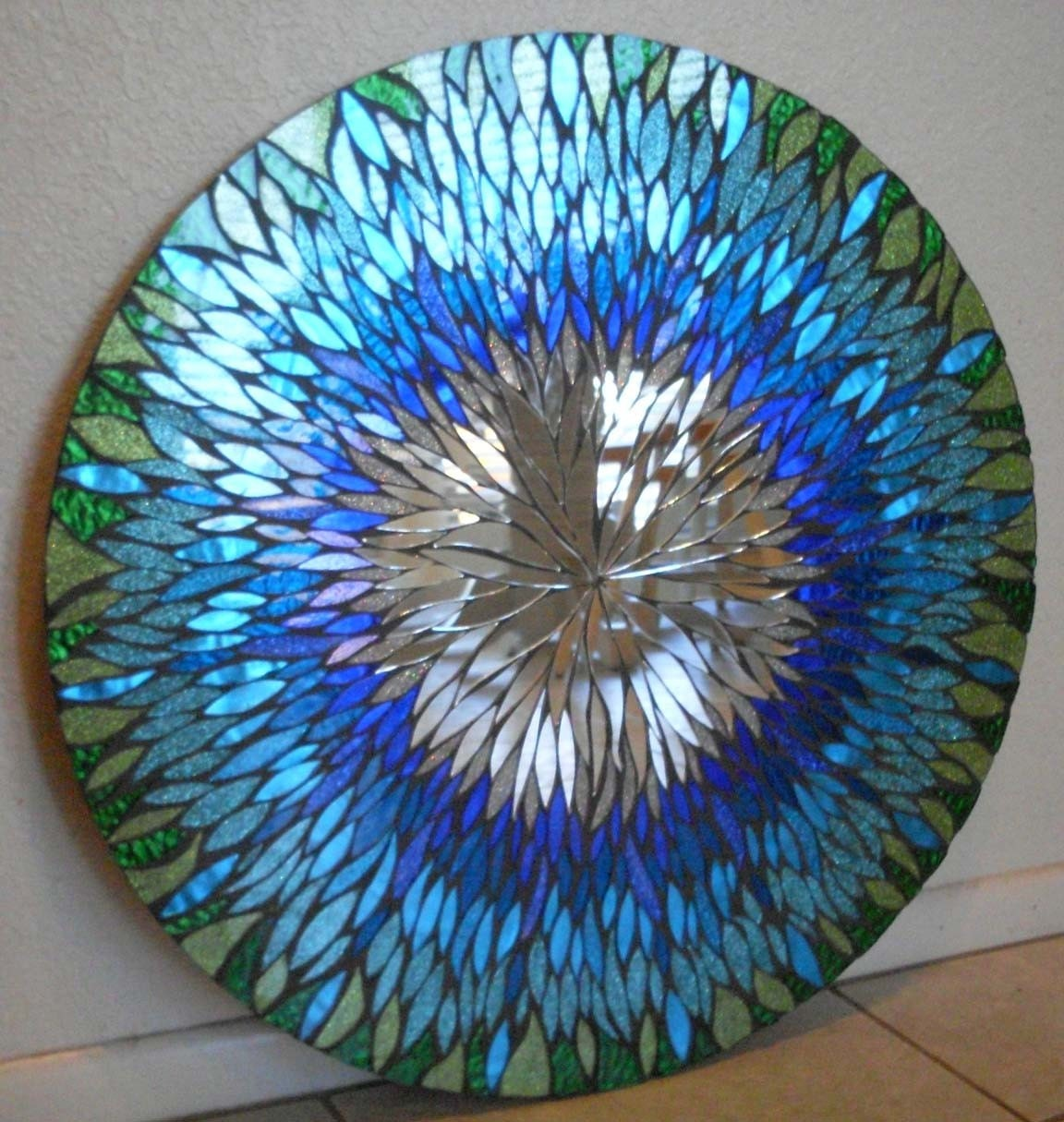 Reserved for elwood802 large blue handmade mosaic mirror for Mosaic mirror