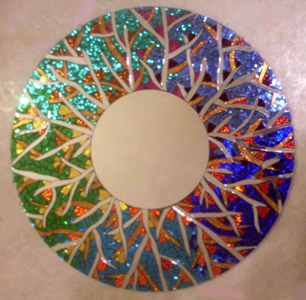 Colorful handmade large stained glass round mosaic mirror for Mosaic mirror