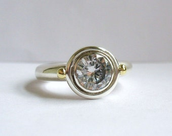 Big Round Silver And Gold Solitaire Ring