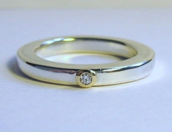 Square Silver Band Ring With Gold Setting