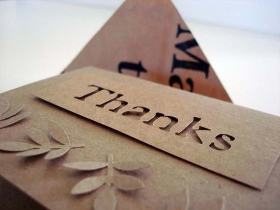Recycled Grocery Bag Envelopes w\/Thank you notes (set of 5) - Monochromatic