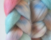 How My Garden Grows -- 4 oz dyed Falkland top wool spinning fiber roving