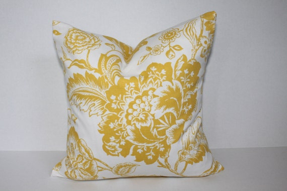 18 x 18  golden yellow and white floral pillow cover