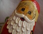 wooden santa doll