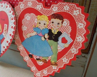two cutest heart shaped vintage valentines