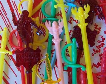 colorful vintage plastic party picks