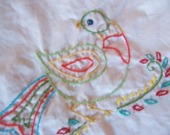 folk art bird towel