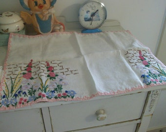 flowery and fun hand embroidered placemat