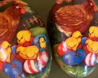 paper mache momma and baby chicks egg