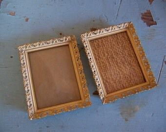 vintage gold and white metal frames