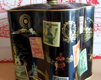 vintage tin covered with stamps