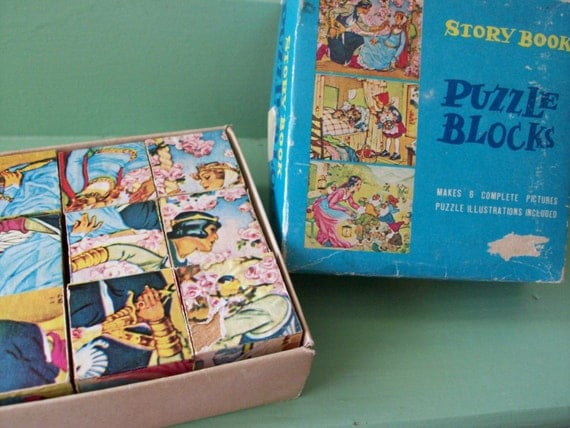 1940's vintage story book puzzle blocks