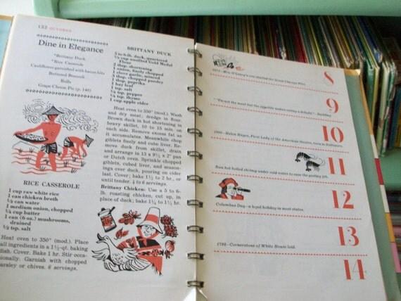 1962 betty crocker's cooking calendar cookbook
