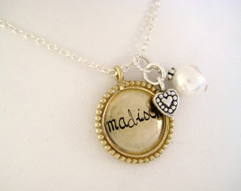 Personalized Brass Beaded Edge Name Necklace