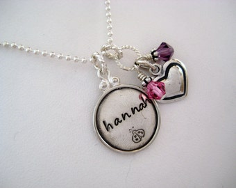 Personalized hand stamped jewelry - sterling silver fancy disc necklace