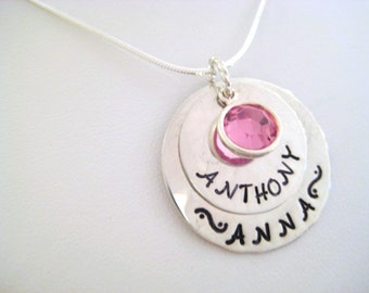 Hand Stamped Jewelry - Personalized Sterling Silver 2 Tier Necklace