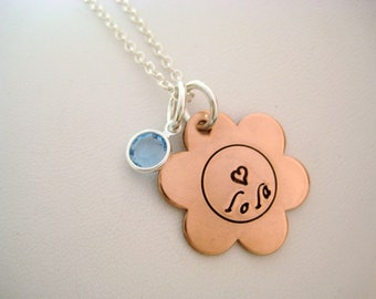 Hand Stamped Jewelry - Personalized Copper Flower Necklace