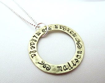 Personalized Large Brass Eternity Necklace
